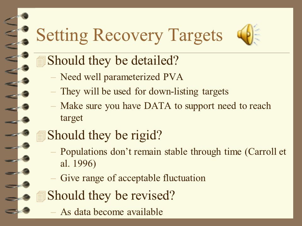 Setting Recovery Targets 4 Should they be detailed.