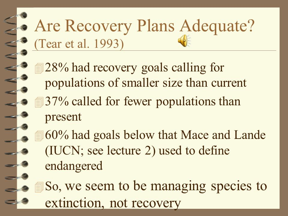 Are Recovery Plans Adequate. (Tear et al.