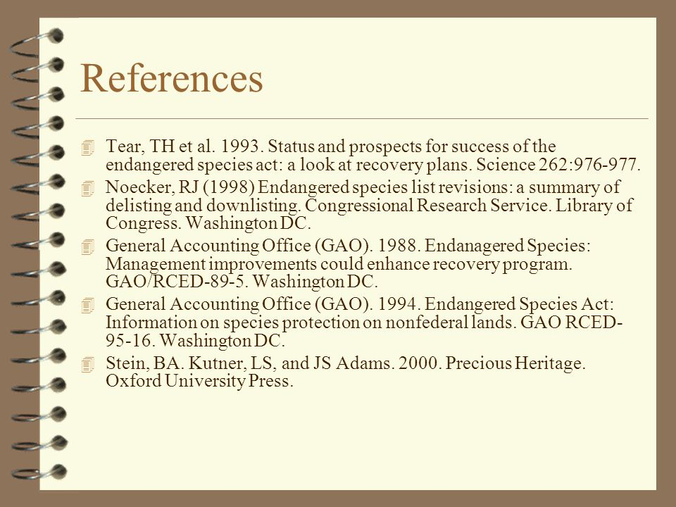References 4 Tear, TH et al. 1993.
