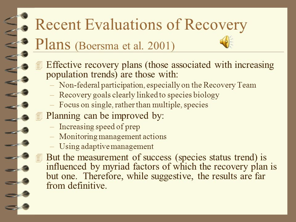 Recent Evaluations of Recovery Plans (Boersma et al.