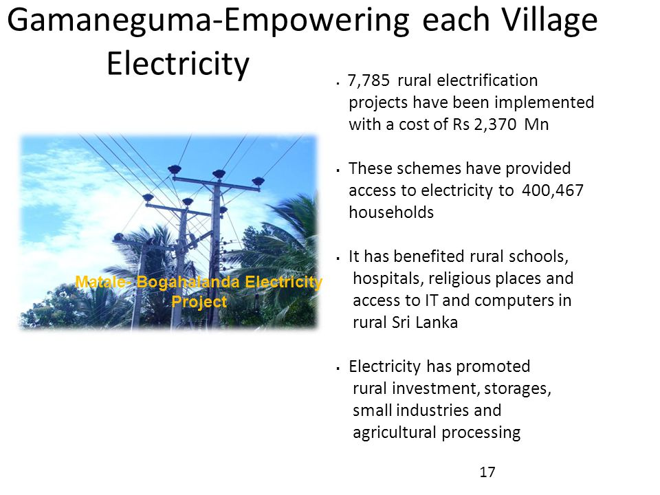 Matale- Bogahalanda Electricity Project Gamaneguma-Empowering each Village Electricity  7,785 rural electrification projects have been implemented wi