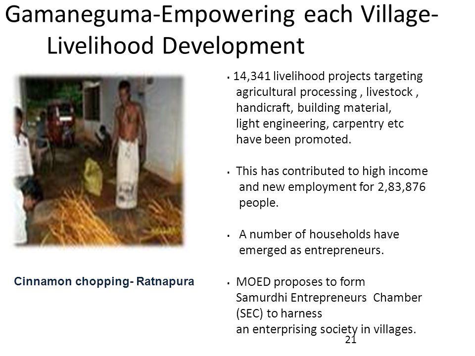 Gamaneguma-Empowering each Village- Livelihood Development  14,341 livelihood projects targeting agricultural processing, livestock, handicraft, building material, light engineering, carpentry etc have been promoted.