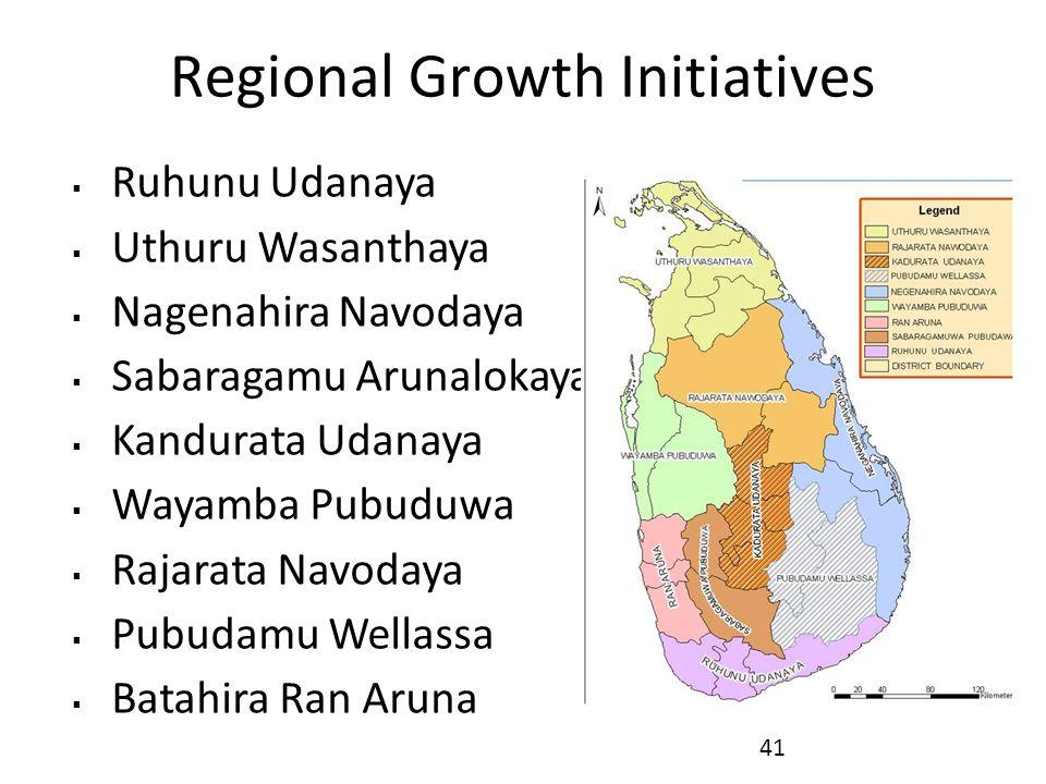 Regional Growth Initiatives  Ruhunu Udanaya  Uthuru Wasanthaya  Nagenahira Navodaya  Sabaragamu Arunalokaya  Kandurata Udanaya  Wayamba Pubuduwa  Rajarata Navodaya  Pubudamu Wellassa  Batahira Ran Aruna 41