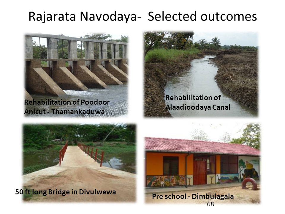 Rajarata Navodaya- Selected outcomes Rehabilitation of Poodoor Anicut - Thamankaduwa Rehabilitation of Alaadioodaya Canal Pre school - Dimbulagala 50
