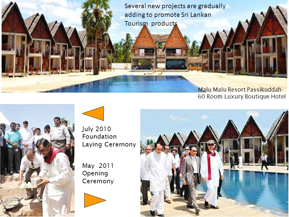 July 2010 Foundation Laying Ceremony May 2011 Opening Ceremony Malu Malu Resort Passikuddah- 60 Room Luxury Boutique Hotel Several new projects are gr