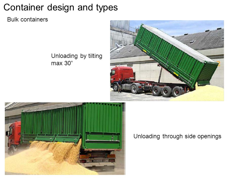 Container design and types Bulk containers Unloading by tilting max 30 Unloading through side openings
