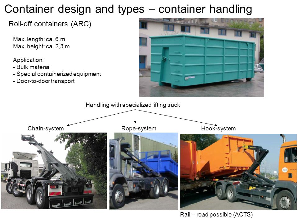 Container design and types – container handling Roll-off containers (ARC) Max.