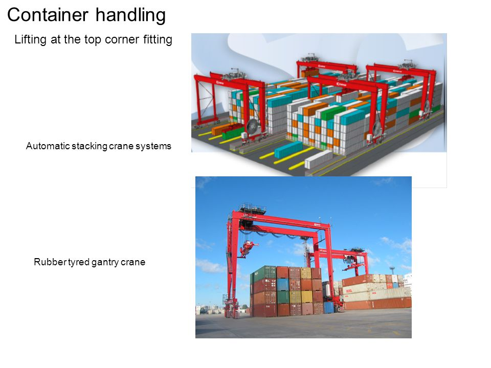 Container handling Lifting at the top corner fitting Automatic stacking crane systems Rubber tyred gantry crane