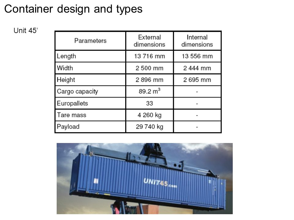 Container design and types Swap bodies Advantages: dimensions compatible with EURO-pallets, lower tara weight, multiple handling possibilities Disadvantages: cannot be (or max.