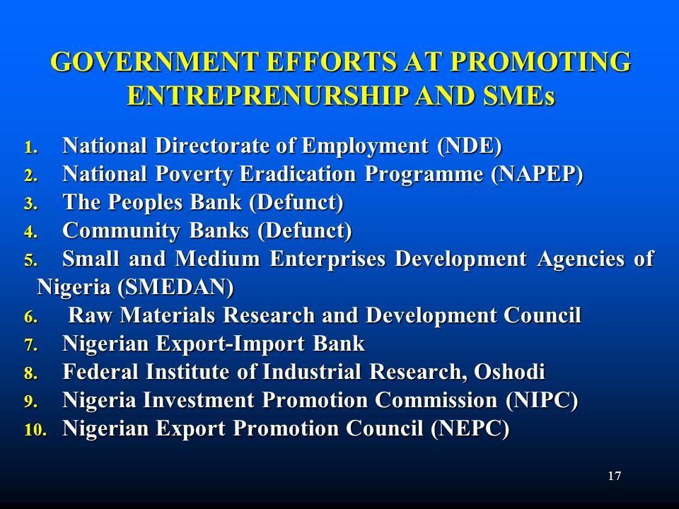 GOVERNMENT EFFORTS AT PROMOTING ENTREPRENURSHIP AND SMEs 1. National Directorate of Employment (NDE) 2. National Poverty Eradication Programme (NAPEP)