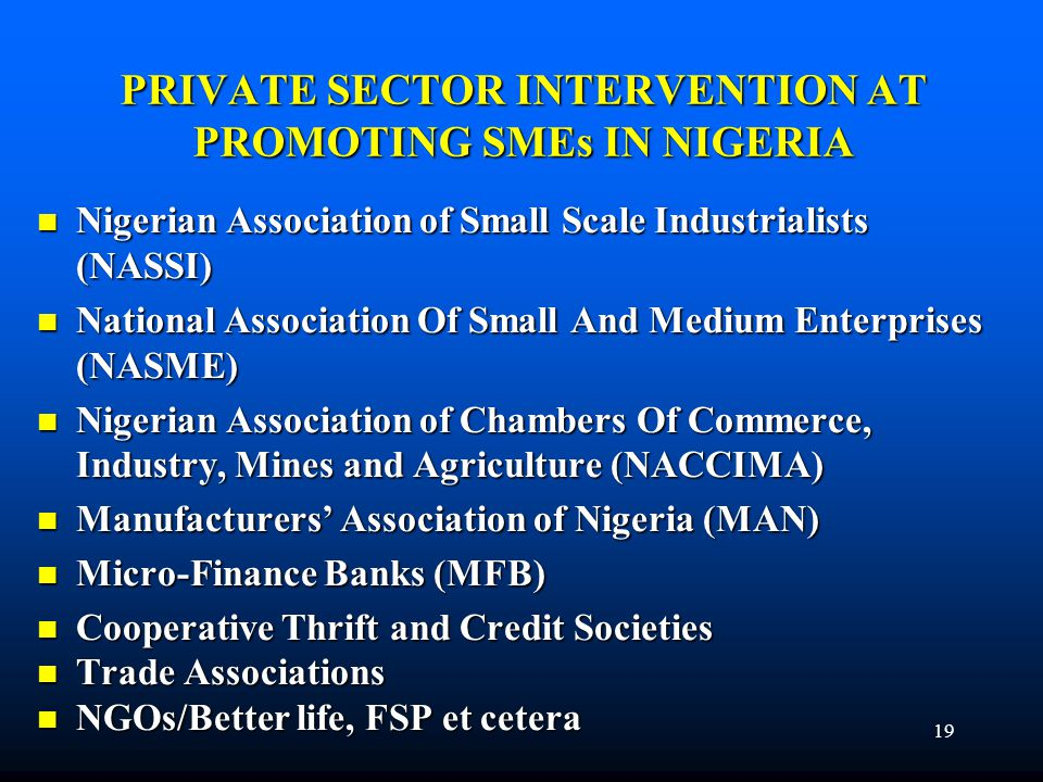 PRIVATE SECTOR INTERVENTION AT PROMOTING SMEs IN NIGERIA Nigerian Association of Small Scale Industrialists (NASSI) Nigerian Association of Small Scal