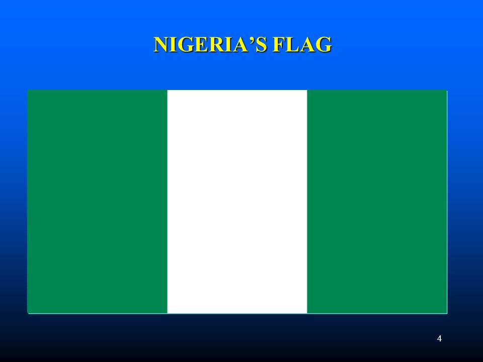 MEANING OF COAT OF ARMS/FLAG 5 The Coat of Arms of Nigeria has a black shield with two white stripes that come together, like the letter Y.