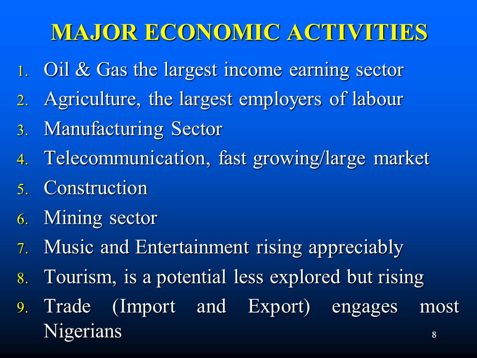 SECTORALGROWTH Sector2008 (%)2009 (%) Agriculture6.36.2 Mining and Quarrying-5.9 Manufacturing8.98.5 Electricity, Gas & Water4.03.6 Construction13.112.9 Wholesale & Retail Trade, Restaurants, Hotels 14.011.6 Finance, Insurance, Real Estate, etc.6.86.4 Transport and Communications19.320.9 Public Administration and Defense4.44.5 Other Services10.310.0 9