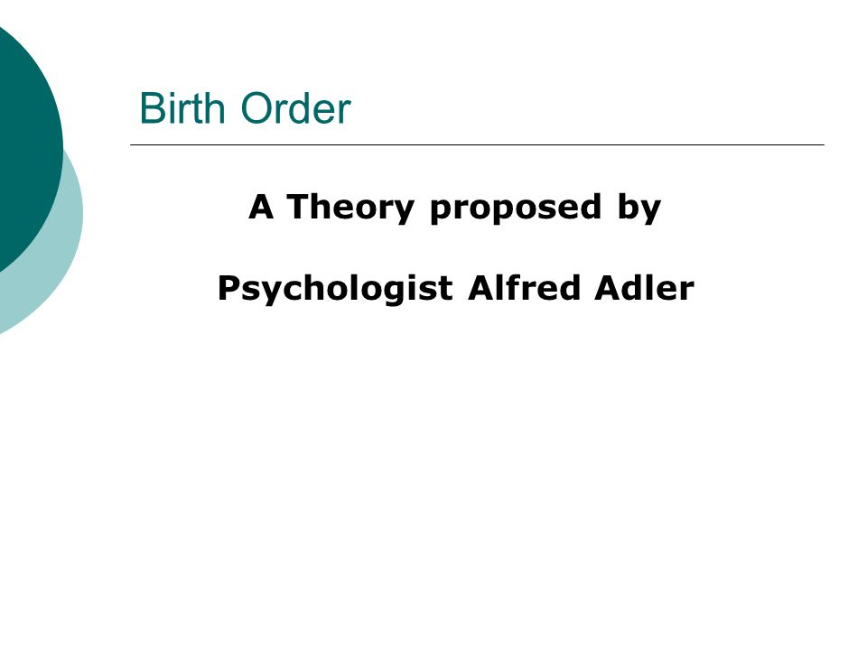 Birth Order A Theory proposed by Psychologist Alfred Adler