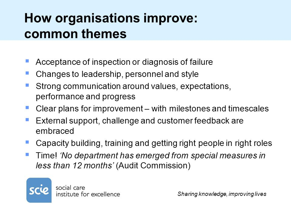 Sharing knowledge, improving lives How organisations improve: common themes  Acceptance of inspection or diagnosis of failure  Changes to leadership, personnel and style  Strong communication around values, expectations, performance and progress  Clear plans for improvement – with milestones and timescales  External support, challenge and customer feedback are embraced  Capacity building, training and getting right people in right roles  Time.