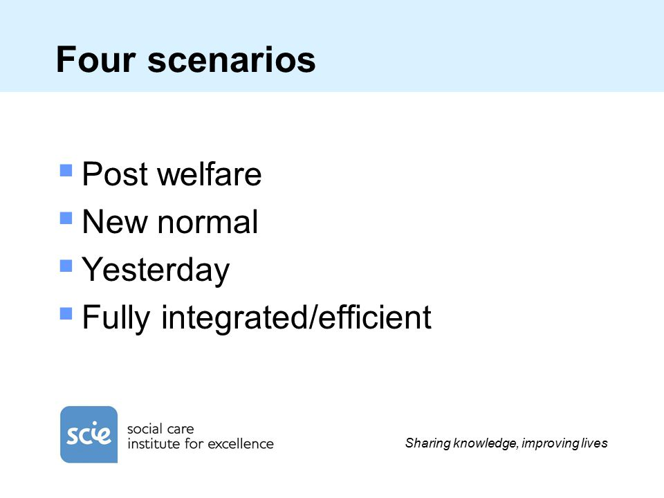 Sharing knowledge, improving lives Four scenarios  Post welfare  New normal  Yesterday  Fully integrated/efficient