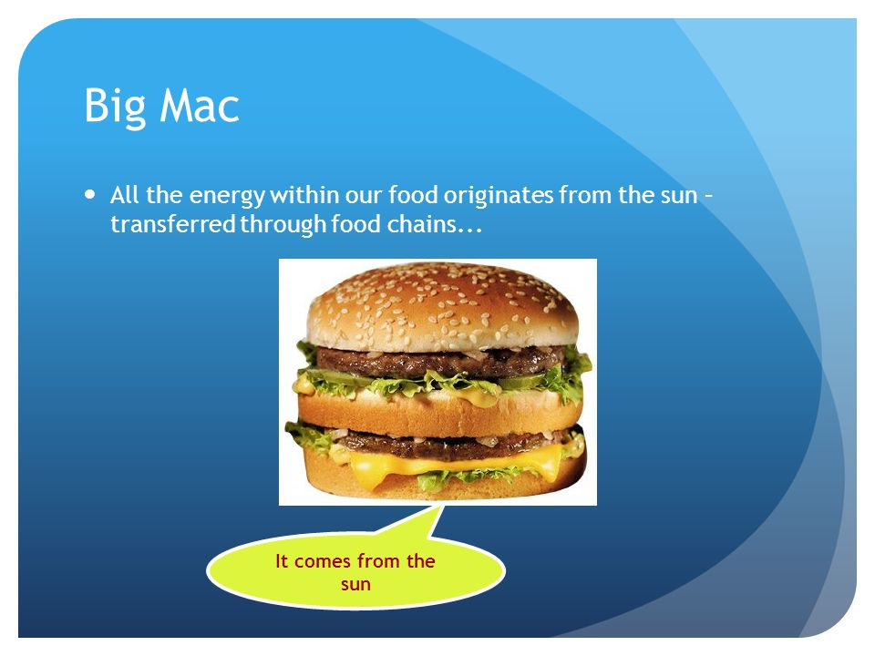 Big Mac All the energy within our food originates from the sun – transferred through food chains... It comes from the sun
