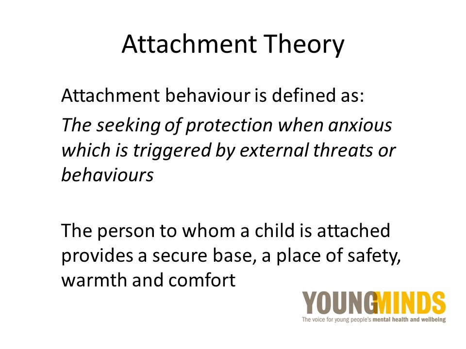 Attachment Theory Attachment behaviour is defined as: The seeking of protection when anxious which is triggered by external threats or behaviours The