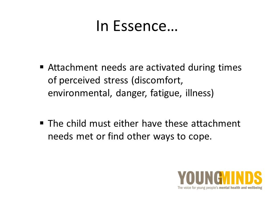 In Essence…  Attachment needs are activated during times of perceived stress (discomfort, environmental, danger, fatigue, illness)  The child must e