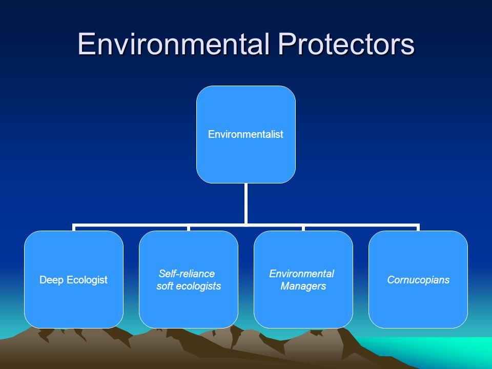 Environmental Protectors Environmentalist Deep Ecologist Self-reliance soft ecologists Environmental Managers Cornucopians