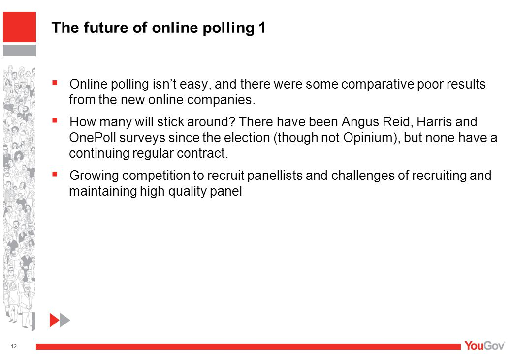  Online polling isn't easy, and there were some comparative poor results from the new online companies.