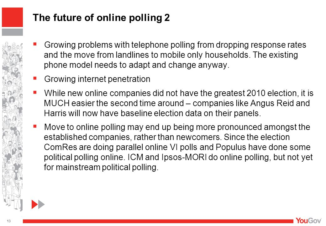  Growing problems with telephone polling from dropping response rates and the move from landlines to mobile only households. The existing phone model