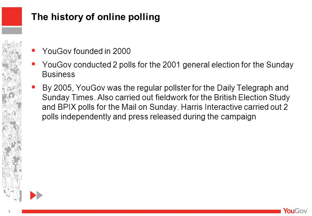  YouGov founded in 2000  YouGov conducted 2 polls for the 2001 general election for the Sunday Business  By 2005, YouGov was the regular pollster for the Daily Telegraph and Sunday Times.