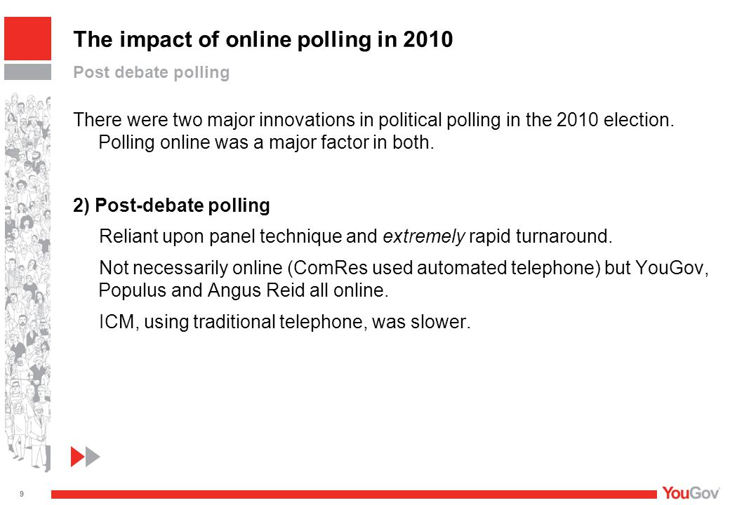 There were two major innovations in political polling in the 2010 election. Polling online was a major factor in both. 2) Post-debate polling Reliant