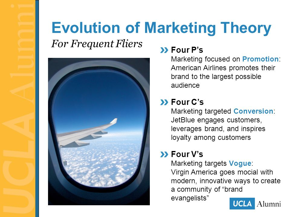 Four P's Marketing focused on Promotion: American Airlines promotes their brand to the largest possible audience Four C's Marketing targeted Conversion: JetBlue engages customers, leverages brand, and inspires loyalty among customers Four V's Marketing targets Vogue: Virgin America goes mocial with modern, innovative ways to create a community of brand evangelists For Frequent Fliers