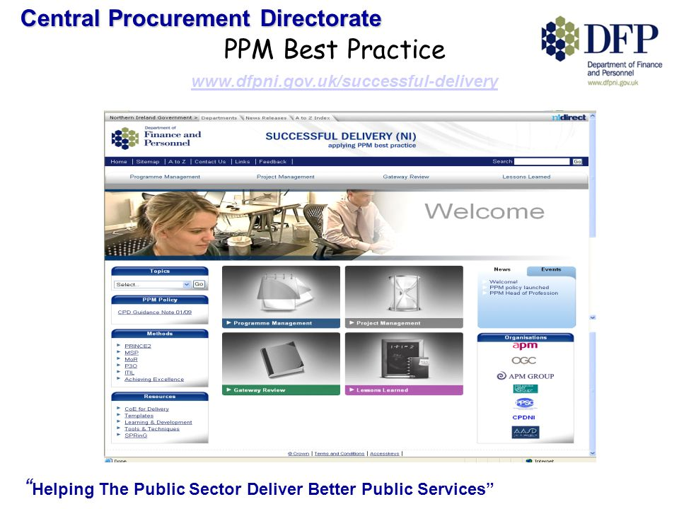 Central Procurement Directorate Helping The Public Sector Deliver Better Public Services PPM Best Practice www.dfpni.gov.uk/successful-delivery