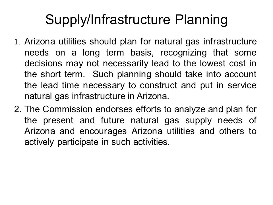 Supply/Infrastructure Planning 1.