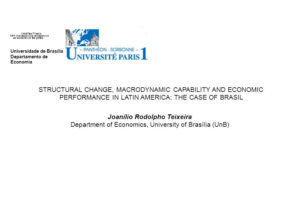 Universidade de Brasília Departamento de Economia STRUCTURAL CHANGE, MACRODYNAMIC CAPABILITY AND ECONOMIC PERFORMANCE IN LATIN AMERICA: THE CASE OF BRASIL Joanílio Rodolpho Teixeira Department of Economics, University of Brasília (UnB)