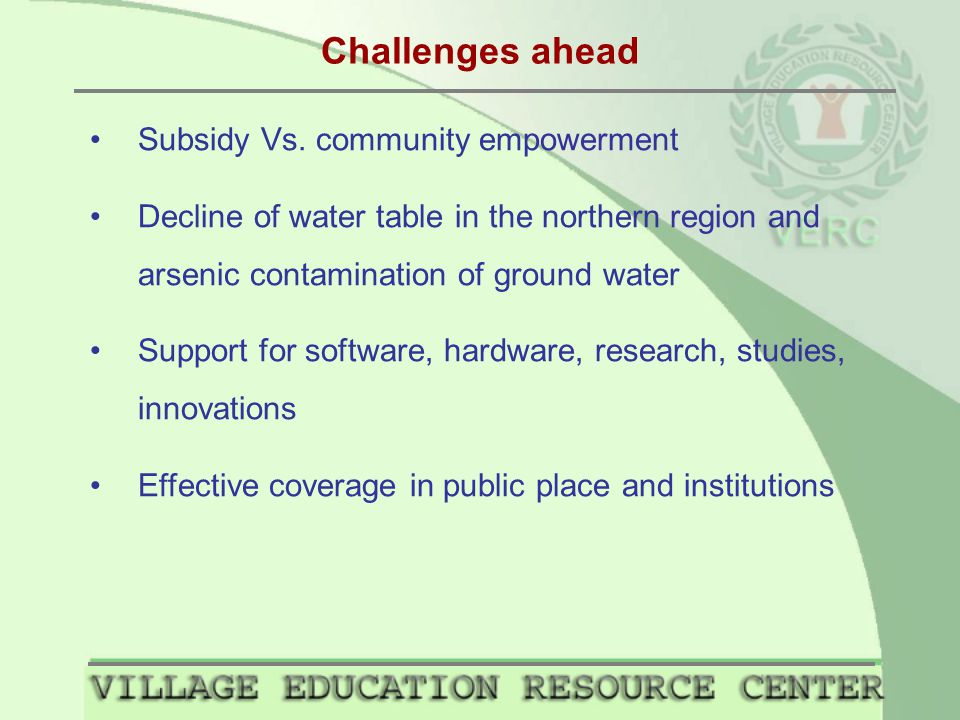 Challenges ahead Subsidy Vs.