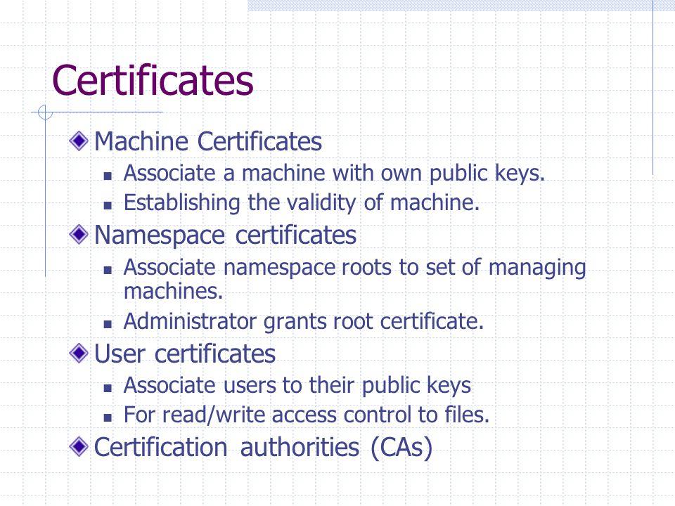 Certificates Machine Certificates Associate a machine with own public keys.