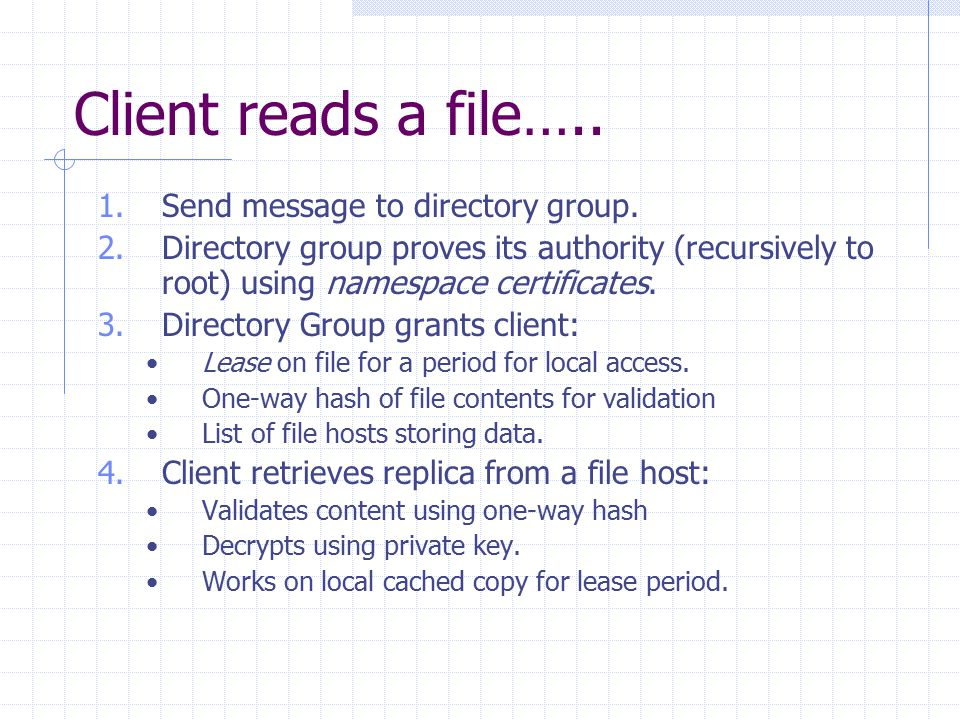 Client reads a file….. 1.Send message to directory group.