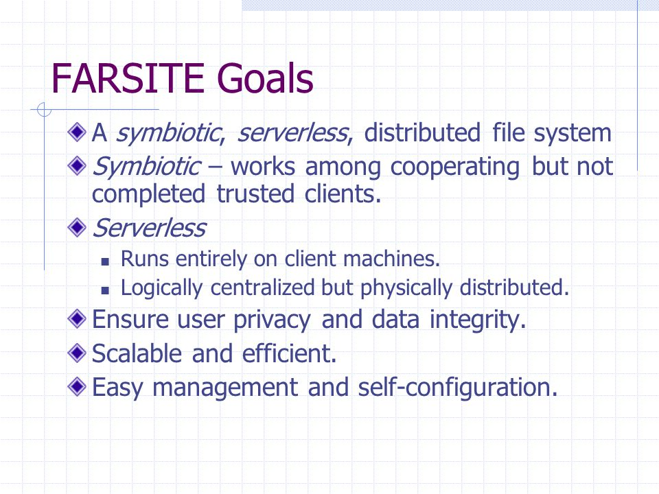 File System Features Reliability and Availability Security Consistency Scalability Efficiency Manageability Differences from NTFS