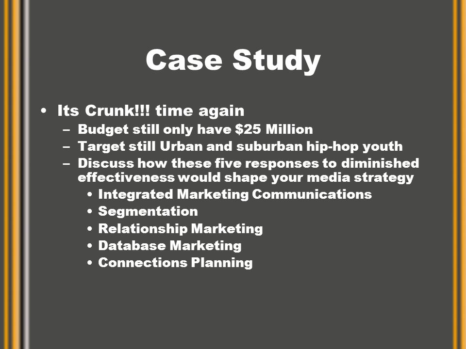 Case Study Its Crunk!!! time again –Budget still only have $25 Million –Target still Urban and suburban hip-hop youth –Discuss how these five response