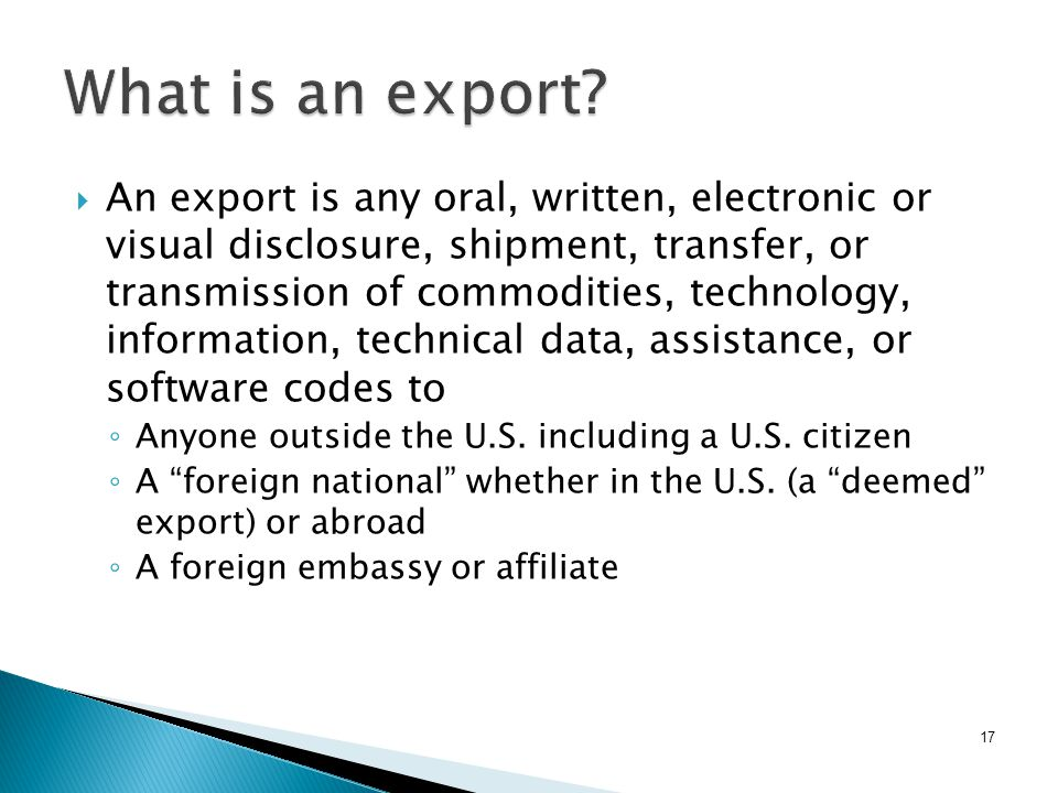 17 What is an export.