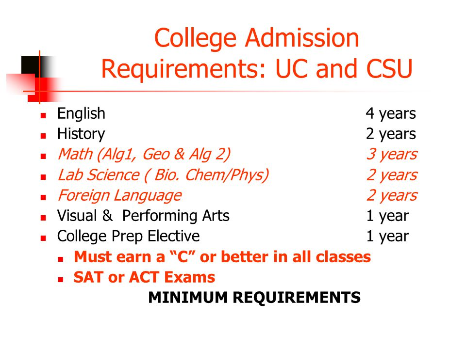 College Admission Requirements: UC and CSU English 4 years History2 years Math (Alg1, Geo & Alg 2)3 years Lab Science ( Bio.