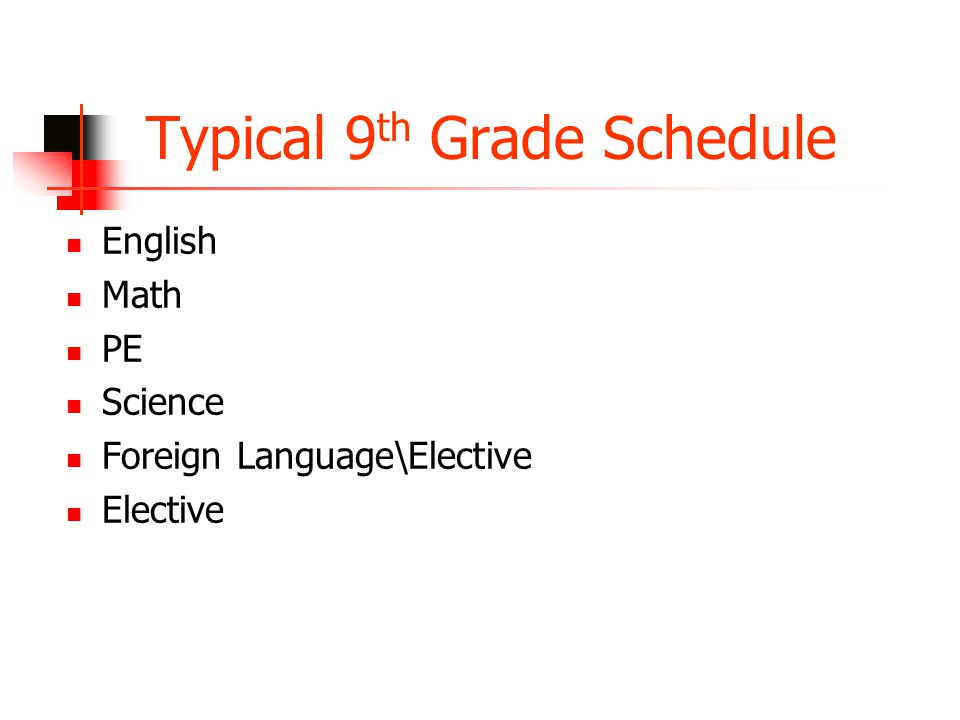 Typical 9 th Grade Schedule English Math PE Science Foreign Language\Elective Elective