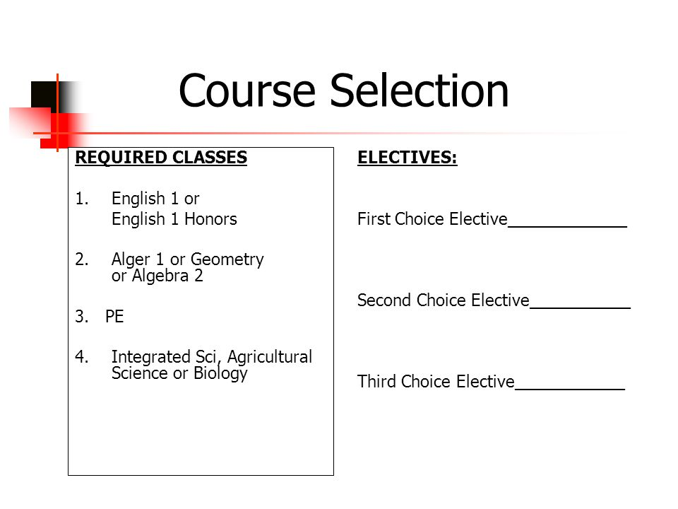Course Selection ELECTIVES: First Choice Elective_____________ Second Choice Elective___________ Third Choice Elective____________ REQUIRED CLASSES 1.