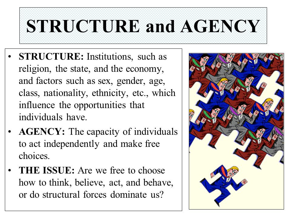 STRUCTURE: Institutions, such as religion, the state, and the economy, and factors such as sex, gender, age, class, nationality, ethnicity, etc., whic