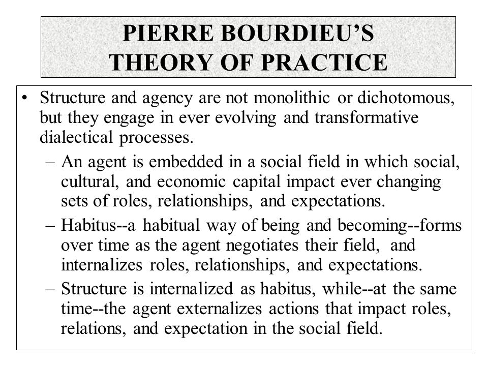 Structure and agency are not monolithic or dichotomous, but they engage in ever evolving and transformative dialectical processes.