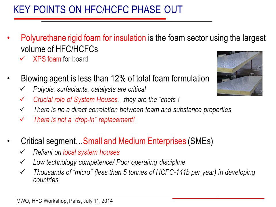 MWQ, HFC Workshop, Paris, July 11, 2014 KEY POINTS ON HFC/HCFC PHASE OUT Polyurethane rigid foam for insulation is the foam sector using the largest v