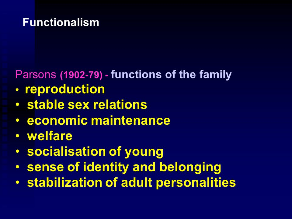 Functionalism To functionalists the family is at the heart of society and consequently they promote its value at every opportunity The New Right views of modern times are really neo-functionalism
