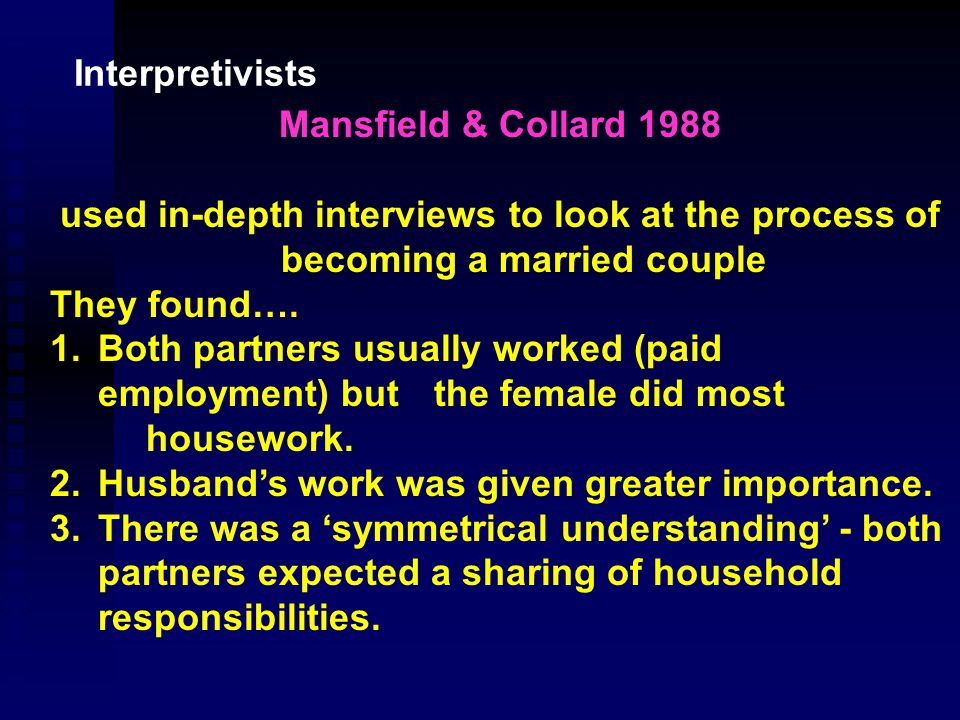 Berger & Kellner 1964 examined marriage and relationships between spouses Looked at meanings attached to being 'husband' & 'wife' These are centred on