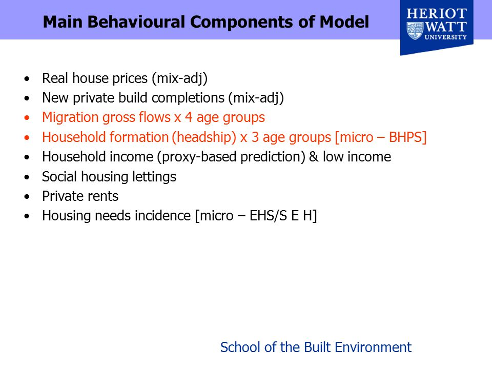 School of the Built Environment Main Behavioural Components of Model Real house prices (mix-adj) New private build completions (mix-adj) Migration gross flows x 4 age groups Household formation (headship) x 3 age groups [micro – BHPS] Household income (proxy-based prediction) & low income Social housing lettings Private rents Housing needs incidence [micro – EHS/S E H]