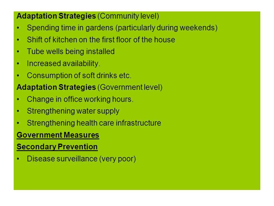 Adaptation Strategies (Community level) Spending time in gardens (particularly during weekends) Shift of kitchen on the first floor of the house Tube wells being installed Increased availability.