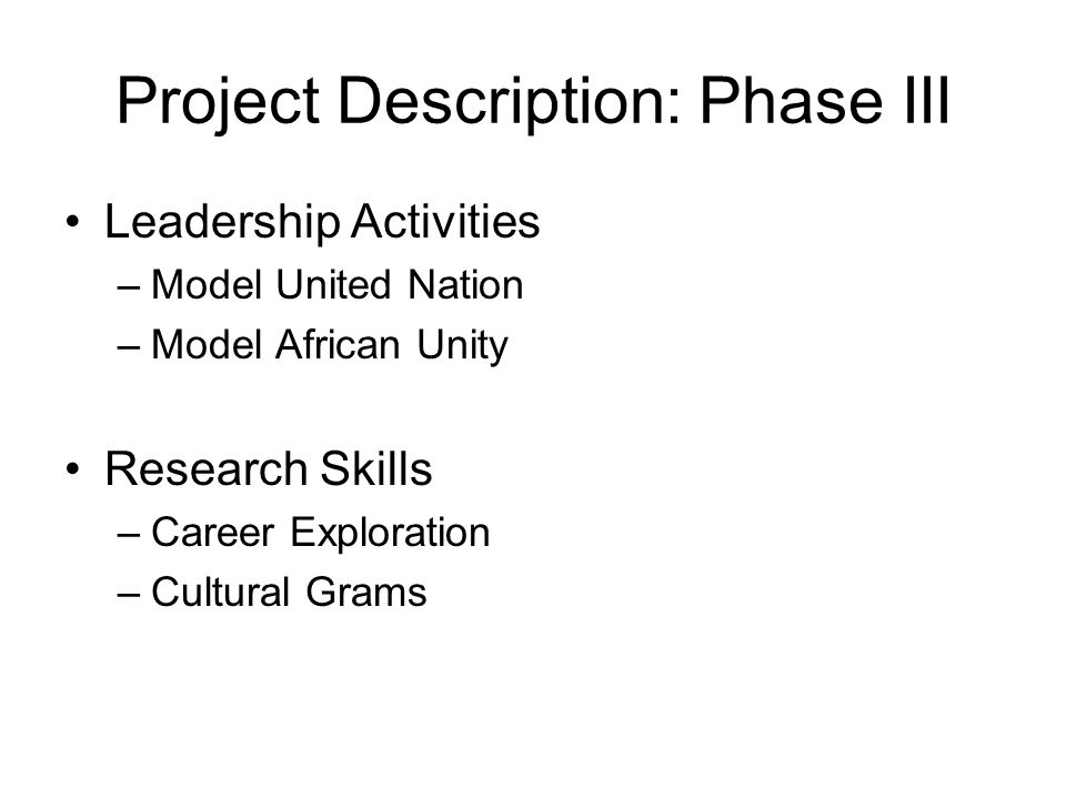 Project Description: Phase III Leadership Activities –Model United Nation –Model African Unity Research Skills –Career Exploration –Cultural Grams