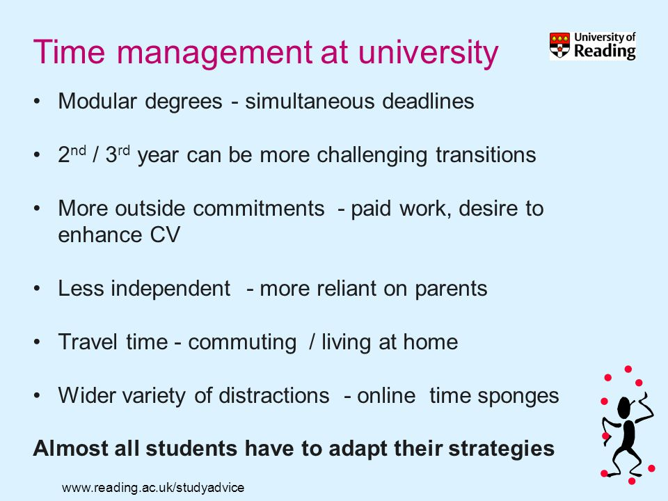 www.reading.ac.uk/studyadvice Time management at university Modular degrees - simultaneous deadlines 2 nd / 3 rd year can be more challenging transitions More outside commitments - paid work, desire to enhance CV Less independent - more reliant on parents Travel time - commuting / living at home Wider variety of distractions - online time sponges Almost all students have to adapt their strategies